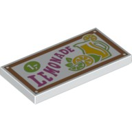 White Tile 2 x 4 with 'LEMONADE' Pattern  6059080