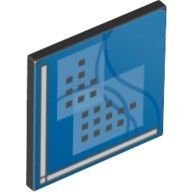 Black Road Sign Clip-On 2 x 2 Square Open O Clip with Curved Blue Lines and Small Black Squares Pattern (Computer Screen)  6064043