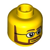 Yellow Minifigure, Head Beard Brown Angular with White Pupils and Glasses Pattern - Hollow Stud  4261301 or 6030239
