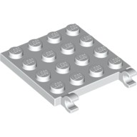 White Plate, Modified 4 x 4 with Clips Horizontal (thick open O clips)  6030965