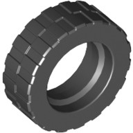 Black Tire 17.5mm D. x 6mm with Shallow Staggered Treads - Band Around Center of Tread  4617848