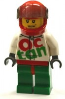 Race Car Driver, White Octan Race Suit with Silver Zipper, Red Helmet with Trans-Black Visor, Crooked Smile, Stubble Beard