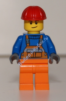Overalls with Safety Stripe Orange, Orange Legs, Red Construction Helmet, Lopsided Smile