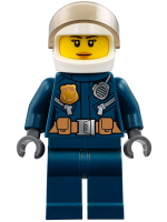 Police - City Helicopter Pilot Female, Leather Jacket with Gold Badge and Utility Belt, Dark Blue Legs, White Helmet, Peach Lips Slight Smile