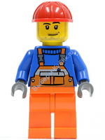Overalls with Safety Stripe Orange, Orange Legs, Red Construction Helmet, Smirk and Stubble Beard