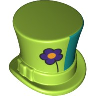 Lime Minifig, Headgear Hat, Top Hat with Ribbon with Dark Purple Flower and Green Left Side Pattern  6223341