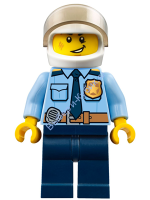 Police - City Officer Shirt with Dark Blue Tie and Gold Badge, Dark Tan Belt with Radio, Dark Blue Legs, White Helmet