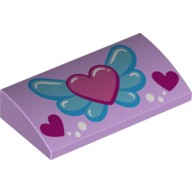Lavender Slope, Curved 2 x 4 x 2/3 No Studs with Bottom Tubes with Pink Heart on Blue Wings, White Circles and 2 Magenta Hearts Pattern  6102754