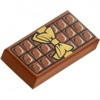 Reddish Brown Tile 1 x 2 with Chocolate Bar Pattern  6139435