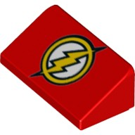 Red Slope 30 1 x 2 x 2/3 with Yellow Circle and Lightning Bolt (DC The Flash Logo) Pattern  6145424