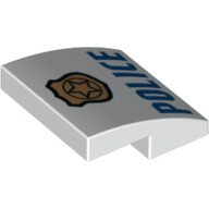 White Slope, Curved 2 x 2 No Studs with Gold Badge with Black Outline on Badge and Blue 'POLICE' Pattern  6174872