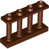 Reddish Brown Fence 1 x 4 x 2 Spindled with 4 Studs  6066114