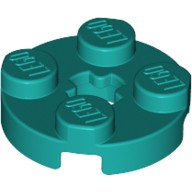 Dark Turquoise Plate, Round 2 x 2 with Axle Hole  6210400
