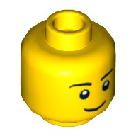 Yellow Minifig, Head Black Eyebrows, Thin Grin, Black Eyes with White Pupils Pattern - Stud Recessed  4651441