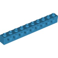Dark Azure Technic, Brick 1 x 10 with Holes  6197913