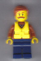 City Jungle Explorer - Dark Orange Jacket with Pouches, Dark Blue Legs, Dark Orange Smooth Hair, Life Jacket Center Buckle, Moustache (60161)