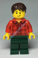 Man with Red Flannel Shirt, Dark Green Pants and, Dark Brown Hair