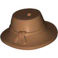 Medium Dark Flesh Minifig, Headgear Hat, Wide Brim Down with Knotted Band  6139188