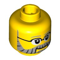 Yellow Minifig, Head Gray Eyebrows and Full Beard with Black Lines, Black Glasses and White Pupils Pattern - Stud Recessed  6134575