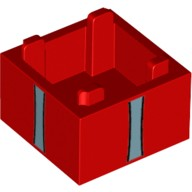 Red Container, Box 2 x 2 x 1 - Top Opening with Metallic Blue Vertical Ribbons Pattern  6224344