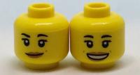 Yellow Minifig, Head Dual Sided Female with Black Eyebrows, Medium Dark Flesh Lips and Dimples, Neutral / Open Mouth Smile Pattern - Stud Recessed  6182323