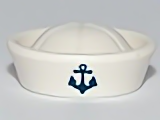 White Minifig, Headgear Hat, Sailor with Anchor Pattern  4615246