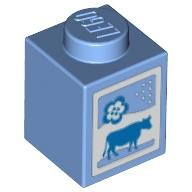 Medium Blue Brick 1 x 1 with Cow and Flower Pattern (Milk Carton)  4619596