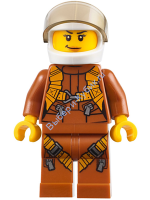 City Jungle Helicopter Pilot Female - Dark Orange Jumpsuit, Dark Orange Legs with Straps, White Helmet, Trans-Black Visor, Peach Lips